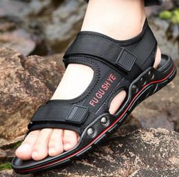 16dd51983 2019 корейские мужские сандалии Новые летние мужские пляжные туфли ручной  работы мужские корейские тапочки для отдыха