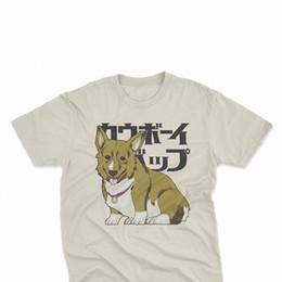 2019 baumwolle grafik t-shirts marken Cowboy Bebop Ein T-Shirt, Anime Japanese Graphic Tees, Corgi Hundemarke Baumwolle Herren Basic Tops Fitness T-Shirt rabatt baumwolle grafik t-shirts marken
