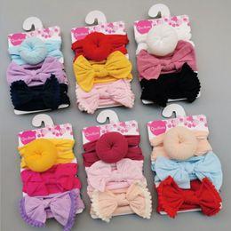 2019 fitas de filhós Bebê Meninas Headbands Nó Bola Donut Nylon Hairband Elastic Infantil Arco Turbante Nó Sólido Headwear Acessórios Para o Cabelo 3 pçs / set 10 Estilos YW4026 fitas de filhós barato