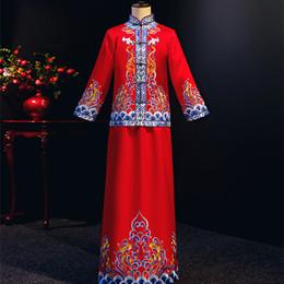 hombres túnicas chinas Rebajas Traje de los hombres Boda Real Novio Clásico Cheongsam Estilo chino Bata larga Vestido de cuerpo entero Escenario Tostada Ropa