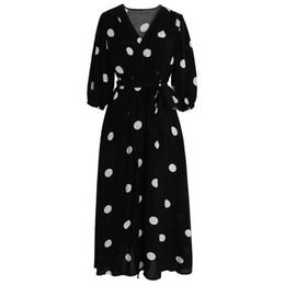Vestito chiffon dal puntino di polka delle donne online-Estate delle donne Robe Vintage francesi Polka dot abiti V-Neck Split Chiffon abito impero Femminile Metà di-Vitello Abbigliamento