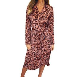 2019 camisa alta do laço do pescoço das senhoras Senhoras Diariamente Cintura Alta Midi Sexy Camisa de Verão Lace-up Decote Em V Moda Leopardo Impressão Mulheres Vestido de Manga Comprida Casual camisa alta do laço do pescoço das senhoras barato