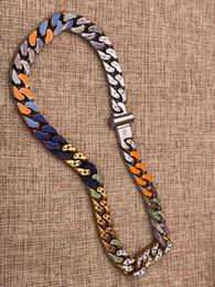 2019 amerikanische goldkette 24k Designer Halskette Kettenglieder FLECKEN Halskette gefror heraus Ketten Luxus-Designer-Schmuck Frauen Halskette 2019 Luxus-Mode-Accessoires M68259