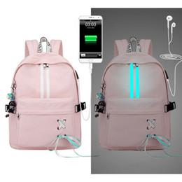 2019 borsa di disegno della borsa L'alta qualità impermeabile zaino donne stile della Corea USB antifurto personalità coulisse Design College luminoso Striscia di viaggio Bag borsa di disegno della borsa economici