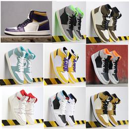 segno della donna Sconti Alta OG 1s Travis Scotts scarpe da basket da uomo UNC firmate congiuntamente Chicago 1 White Neutro Court da uomo viola scarpe da ginnastica da donna