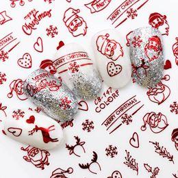 Unghie rosse di natale online-3 colori di chiodo del fiocco di neve Hollow 3D Nail Art Sticker Natale Inverno Neve Wrap Stickers oro / argento / rosso Manicure Decor