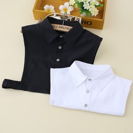 Camicia da donna in cotone e broccato coreano bianco Colletto falso Camicia da donna Colletto falso staccabile da