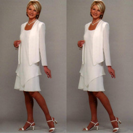 2019 novios, boda, ropa La madre blanca de la novia viste gasa mangas largas más el tamaño de la rodilla Boda Fiesta Novio Vestidos de la madre novios, boda, ropa baratos