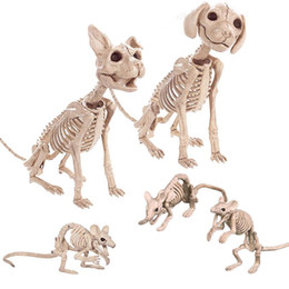 Ratos ornamentos on-line-Decoração do Dia das Bruxas Props animais de esqueleto mouse Dog Cat crânio do osso Ornamentos Hallowmas Horror Haunted House Party Decoration