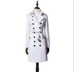 Cappotto bianco doppio online-Cappotto donna primavera trench coat donna manica lunga donna casaco feminino cappotto donna jaqueta feminina bianco double petto