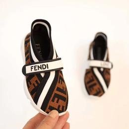 Sapatos de bebê de tecido branco on-line-Sapatos da forma do miúdo branco marrom cor menino gir tecido elástico + sola de borracha criança athletic shoes sneakers patch design Criança slip on shoes
