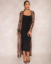 Costumi da bagno di champagne online-Le donne Paillettes See Through Outwear Fashion Paisley manica lunga Cardigan camicetta Costumi da bagno costume da bagno