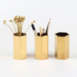 ornamento di vaso di fiori Sconti Hexagon Brass Vase Desktop Portapenne Contenitore Soggiorno Nordic Style storage container scrivania Ornament Cup Desk Vasi di Fiori FFA1503