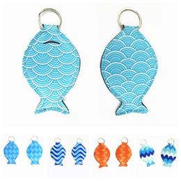 Porta-sacos de pesca on-line-Forma de peixe Neoprene chapstick titular keychain Meninas Chave Anéis Criativo Mini Lip Gloss Bolsa Saco Favor de Partido Mulheres Presentes FFA2044
