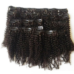 synthetisches peruanisches weben Rabatt Unverarbeiteter Jungfrau-brasilianischer Jungfrau-Haar-120G verworrener gelockter Klipp in den menschlichen Haar-Verlängerungen Afro verworrener gelockter Klipp auf Haar-Erweiterungen