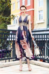 2019 ropa blanca playa moda mujer 2019 nuevo sin mangas con cuello en V vestido a juego de color cintura de verano de las mujeres que adelgaza la cintura alta falda larga tendencia de la moda popular