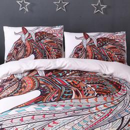 Juegos de cama de caballos reina online-Caballo del lecho de la impresión de HD tribales Caballos duvet cover set Twin Queen completa Rey 3 piezas de ropa de cama