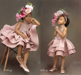 2019 пышные розовые платья девушки цветка 2019 пыльно-розовый кристалл бисером платье девушки цветка роскошные блестящие короткие вечерние платья милые принцессы платье для вечеринки по случаю дня рождения дешево пышные розовые платья девушки цветка