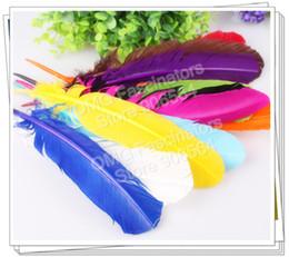 Plumas de plumas de pavo online-venta caliente 100pcs / Lot TURQUÍA QUILLS 20-30cm teñido Craft TURQUÍA Ala Plumas 11 colores para hacer fascinatorsmillinery y artesanía