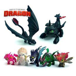 Treinar figuras de ação de dragão on-line-Como Treinar o Seu Dragão 1 Conjunto 7 pçs / set 5 ~ 7 cm Anime 2 Action Figure Brinquedos Noite Fúria Desdentado Dragão PVC Figuras de Ação Presentes de Natal