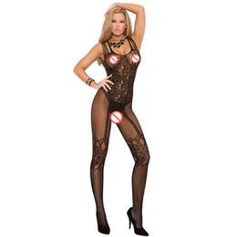 Tenedor de mama caliente online-Mujeres calientes Sexy entrepierna abierta Medias de cuerpo Medias de encaje Ropa interior erótica Tenedor abierto y medias de pecho expuestas Lencería sexy