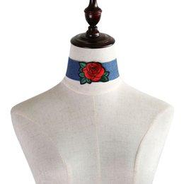 2019 chokers della farfalla New Blue Denim ricamo Choker della collana del collare Rose Raffreddare Bandiera nazionale Cuore Diamante Corona fascino della farfalla per i monili delle donne