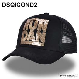 Marca de gorra hombre corriendo online-DSQOCOND2 ICON Marca Gorra de béisbol de malla de verano RUN DAN Carta Flash chip para mujeres hombres Snapback Hat Cap Ajustable Deporte papá Hat