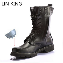 footwear construction Coupons - LIN KING Black Men's Work Safety Boots Steel Toe Construction Protective Footwear Shoes Waterproof Lace Up Male Motorcycle Boots