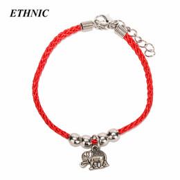 1 unids Vintage encanto elefante mano infinito hilo rojo pulsera de la secuencia para mujeres hombres con extensión P desde fabricantes