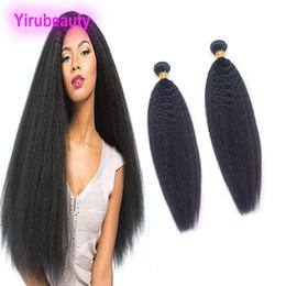 Afro yaki capelli vergini online-Capelli vergini malesi 2 pacchi crespi capelli lisci estensioni doppie trame di capelli 2 pezzi un lotto Afro Yaki grossolana