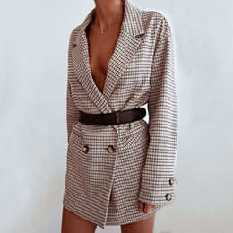 suit blazers pattern Coupons - Vintage Bouble Breasted Plaid Women Blazer Pockets Jackets Female Retro Suits Coat Feminino blazers Outerwear high quality
