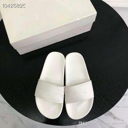 2019 pantoufles de logo 2019 Sandales diapositive de piscine à logo imprimé de mode, Pantoufles en caoutchouc pour femmes - Noir, blanc, bleu rose pantoufles de logo pas cher