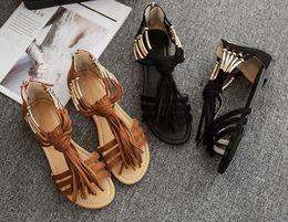 abiertos sandalias dedo planos verano del borla inferior viento zapatos  romano Oxford cremallera retro del mujeres ... 8d5f336e3594