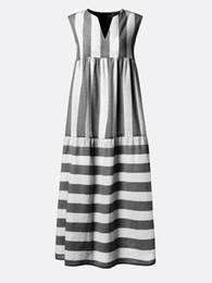 2019 novo tipo vestidos 2019 novo design plus size das mulheres dress listrado impresso com decote em v sem mangas soltas tipo verão maxi dress streetwear mulheres roupas saias longas novo tipo vestidos barato