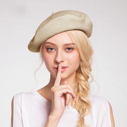 5272dd365ace7 Dama de primavera y invierno Boinas Sombrero Sombrero de pintor Sombrero de  mujer Lana Vintage Boinas Color sólido Gorras Capa para caminar caliente ...