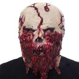 зомби-маски Скидка Halloween  Mask Horror Scarry Latex Maskd Skull Zombie Headgear Mask Prank Prop Ornament Red Mascaras Disfraces