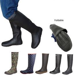 резиновые сапоги Скидка Япония Стиль Мягкой мужской Женщина высокого дождь сапоги Складные резиновые Галоши черное поле Посадка обувь большого размер