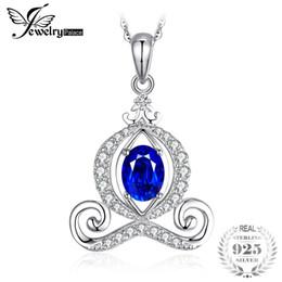 ciondoli in argento 925 zaffiro blu Sconti JewelPalace Pumpkin Carriage 1.6ct creato Blue Sapphire Women Pendant 925 Sterling Silver Fine Jewelry non includere la catena