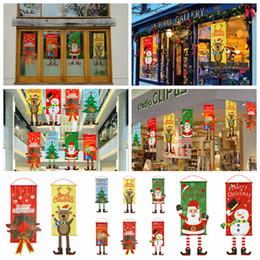 portes de noel Promotion 80 * 40 cm De Noël Tissu Drapeau Fenêtre Home Wall Decor Parti Suspendu Ornements Peintures Père Noël Cerf arbre porte drapeaux FFA1342