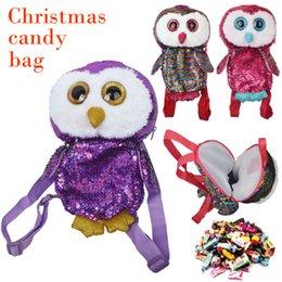 Presente do natal da coruja bolsa de lona on-line-O mais novo Saco dos doces Crianças Doce Storage Bag Laser Owl Backpack Presente de Natal Papai Noel