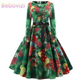 90c0cf07ec0 Bebovizi Green Xmas Midi Dresses Christmas Plus Size Long Sleeve 2019 New  Year Party Dress Vestido De Festa Clothes for Women