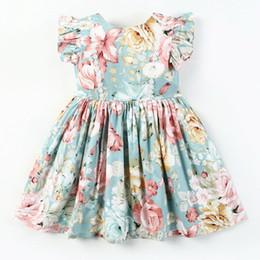 2019 robes imprimées en gros de coton pour filles En gros 2019 été nouvelle fille robe Floral Print Flare Sleeve coton Dress enfants vêtements 1-6 ans E1706 robes imprimées en gros de coton pour filles pas cher
