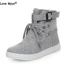 2aa7bcd2439 Autumn Women Boots Casual Canvas Shoes Woman Flats Solid Ankle Boots Black  and Grey Platform Shoes Woman ghn89