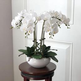 Conjunto de orquídeas on-line-1 Set High Grade Orquídeas Mão Sentindo arranjo de flor Tabela Flor No Vaso de flor Artificial Home Office Decoração