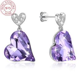 anillos de promesa de lujo Rebajas Purple Red Heart Shape s925 Silver Women Ear rings joyería de lujo Vintage Charm Gema natural Delicate Earring men lady Bridal promise
