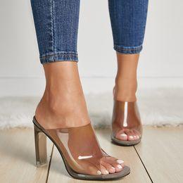 Vestido aberto transparente on-line-Verão Quente Transparente PVC Mulheres Sandálias Dedo Aberto Transparente Cristal de Salto Alto Deslizamento Em Sandálias Vestido Das Senhoras Sapato