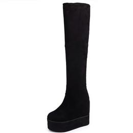 Moxxy бедра высокие сапоги замша платформа зимние сапоги женщины над коленом клинья высокие каблуки теплые меховые туфли женщина долго cheap women thigh heels от Поставщики женские каблуки бедра