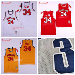 Basketball 34 gelbe trikot online-2018 Mens 34 Len Bias Trikot 1985 Maryland Terps University Vintage Rot Gelb Weiß Basketball Trikots Hight Qualität