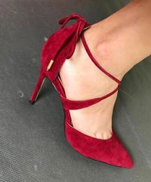 stivali a fascia rossa Sconti Spedizione gratuita new red velvet cinturino con cinturino alla caviglia tacco a punta tacco a spillo tacco alto sexy banda stretta scarpe da donna stivali sandali
