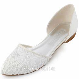 le ragazze nozze scarpe avorio Sconti Donna appartamenti scarpe da sposa sposa scarpe a punta comode scarpe da sposa pizzo ragazze balletto avorio FC1527